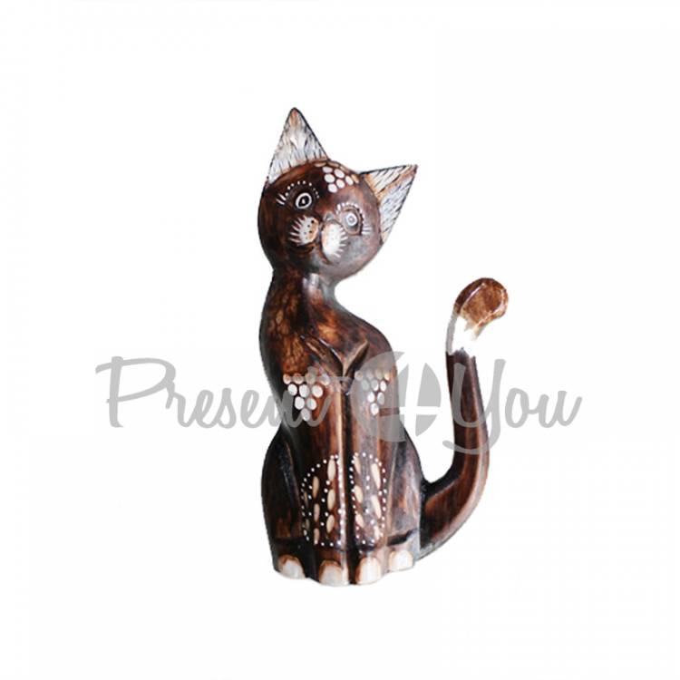 Деревянная статуэтка кот малах-капелька, h-20 см (19255.3e)