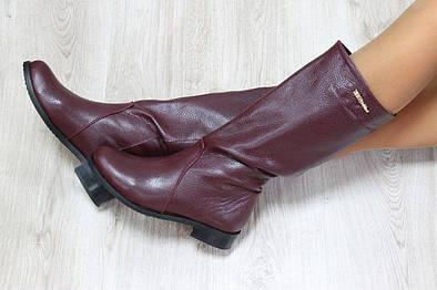 Зимние кожаные сапоги-трубы без замка