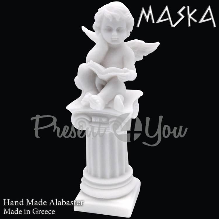 Фигурка-статуэтка из алебастра «Ангел с книгой» Греция, h-14 см (395-0630)