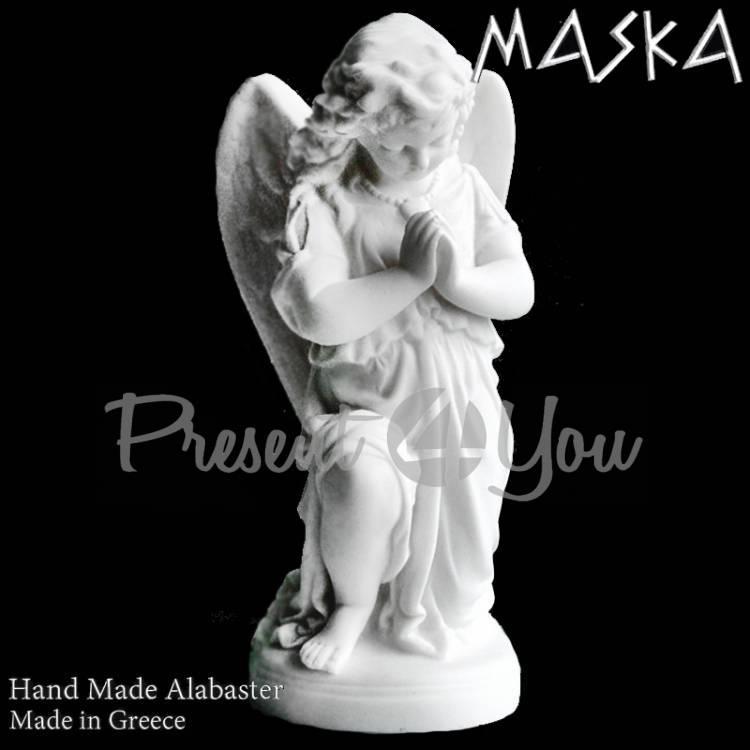 Фигурка-статуэтка из алебастра «Ангел в молитве» Греция, h-25х11,5х16,5 см (395-0471)