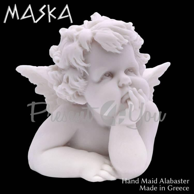 Фигурка-статуэтка из алебастра «Ангел в роздумьях» Греция, h-11см (395-0588)