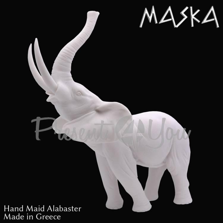 Фигура- статуэтка из алебастра «Слон, который трубит» Греция, h-39х30х19 см (395-0222)