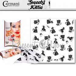 Платочек- шарф «Черно-белые коты» Сarmani, 73х73 см