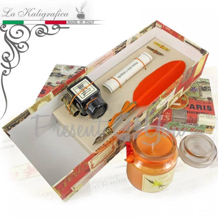 Письменный набор гусиное перо (салатовое), туш, ароматическая свеча, Италия