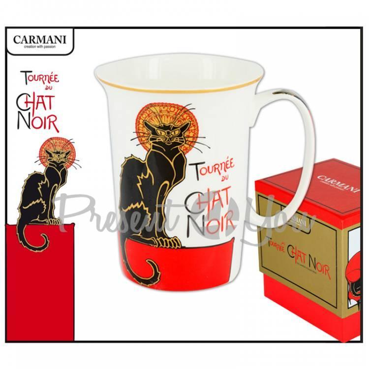 Кружка фарфоровая Французкий чорный кот сидящий, Carmani