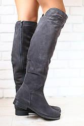Зимние женские ботфорты, темно-серые, замшевые, на низком ходу, европейка