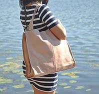 Кожаная вместительная  женская сумка-шопер  Mesho пудра