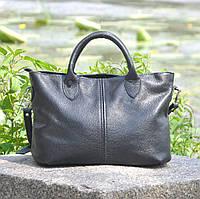 Кожаная женская сумка с плечевым ремнем и двумя ручками Валенсия черная