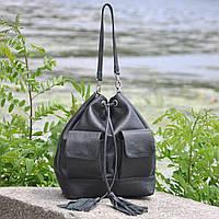 Женская сумка из 100% натуральной кожи  стильная-с затяжками   Мадрид черная