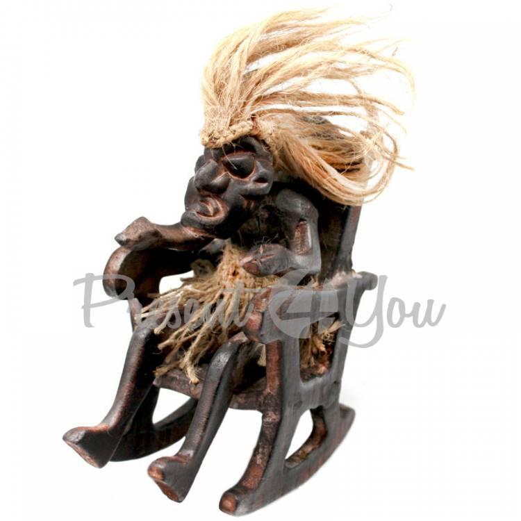 Статуэтка из дерева «Абориген в кресле-качалке» Индонезия, h-17 см