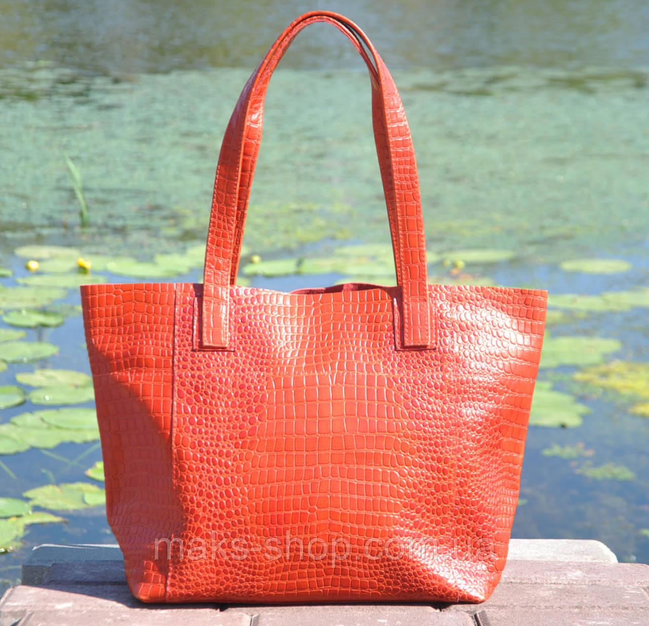 aaa0122be1fa Кожаная удобная женская сумка - шоппер Флоренция под рептилию красная -  Maks Shop- надежный и