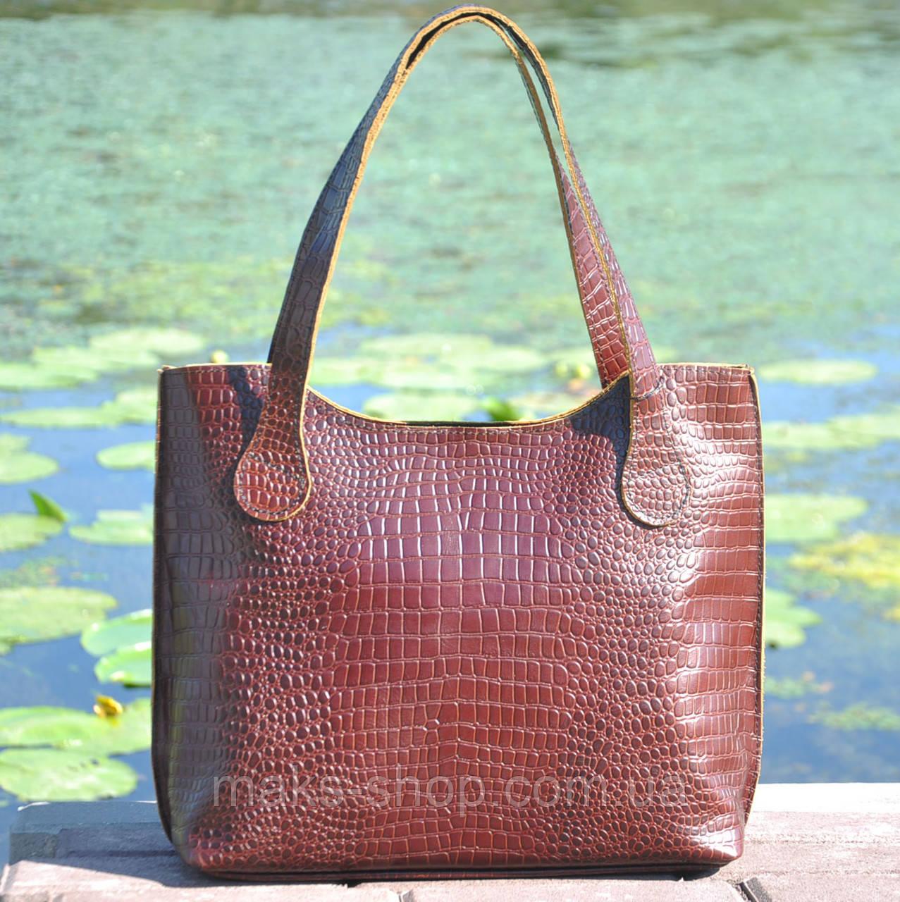 655f523aa1f6 Кожаная удобная и вместительная женская сумка Венеция крокодиловая  коричневая - Maks Shop- надежный и перспективный