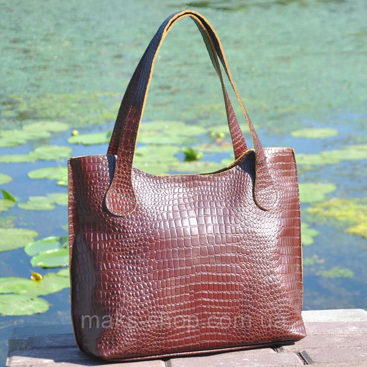 a8a4bffb2c40 Кожаная удобная и вместительная женская сумка Венеция крокодиловая  коричневая, цена 1 519,20 грн., купить в Киеве — Prom.ua (ID#797968204)