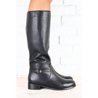 Сапоги зимние черные кожаные без каблука низкий ход
