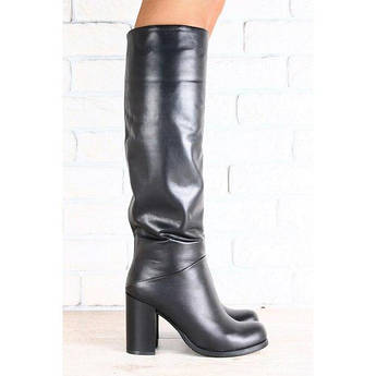 Женские кожаные сапоги, черные, на высоком устойчивом каблуке, на меху