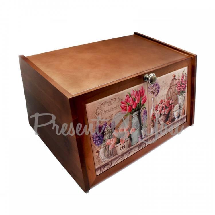 Хлебница «Прованс. Тюльпаны, розы», 36х21х19, 15х30 см