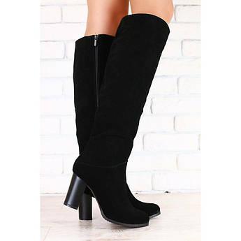Зимние женские сапоги мех евро, черные, из натуральной замши, на каблуке