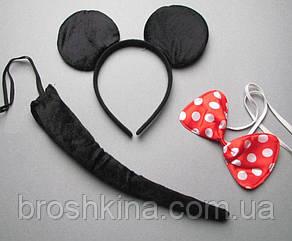 Карнавальный набор Микки Маус: обруч-ушки, хвост и бабочка