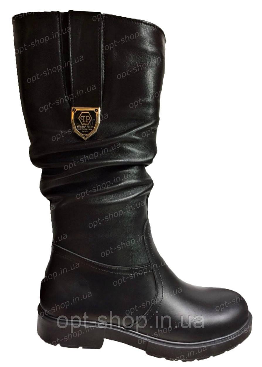 Сапоги женские зимние кожаные на полную ногу на низком ходу от производителя  (черевики жіночі зимові)