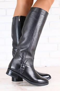 Сапоги зимние, женские, черные, кожаные, с пряжкой, без каблука, мех-европейка
