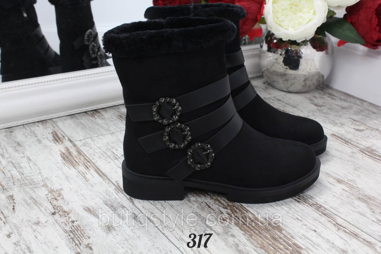 35, 39 размер! Женские зимние черные ботинки Ремешки экозамш