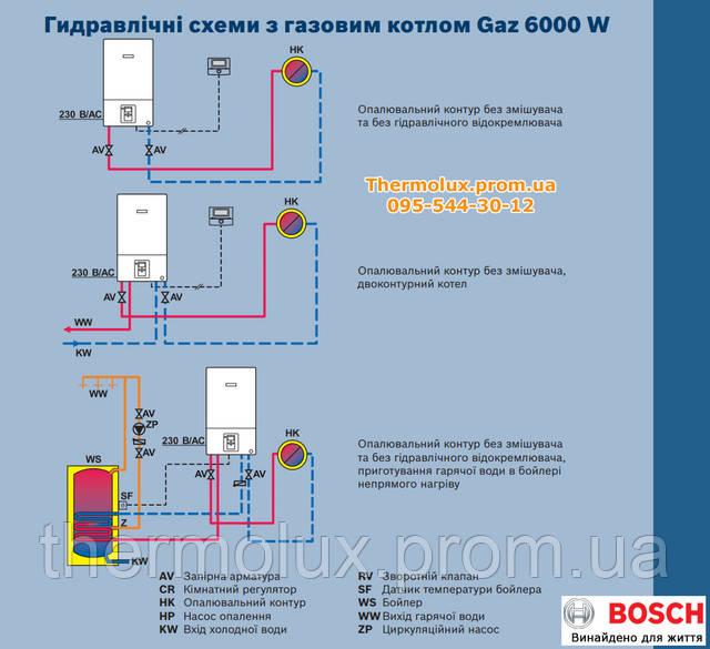 Гидравлические схемы с газовыми котлами Bosch Gaz 6000 W