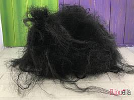 Образ лешого перуку пишний чорний на Хеллоуїн, карнавал, свято
