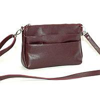 Кожаная небольшая женская сумка с передними карманами Сицилия виноградная de78bbd8e7d7a