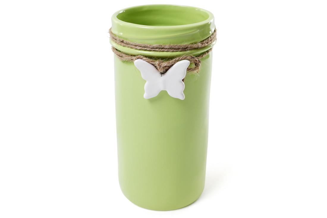 Ваза керамическая с подвеской Бабочка 22 см, цвет - зеленый BonaDi 902-140