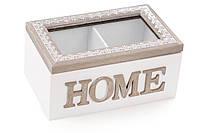 Коробка для чая (2 отделения) деревянная 16.5см Home со стеклянной крышкой BonaDi 493-708