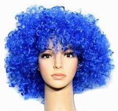 На маскарад перуку клоуна синього кольору кучерявий зручний на Хеллоуїн, Новий рік