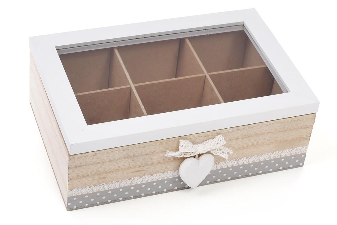 Коробка для чая деревянная (6 отделений) со стеклянной крышкой BonaDi 493-700