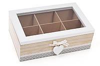 Коробка для чая деревянная (6 отделений) со стеклянной крышкой BonaDi 493-700, фото 1