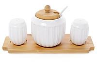 Набор для специй Naturel: солонка, перечница и сахарница 350мл с ложкой Объемные полоски на бамбуковой подставке BonaDi 289-284, фото 1