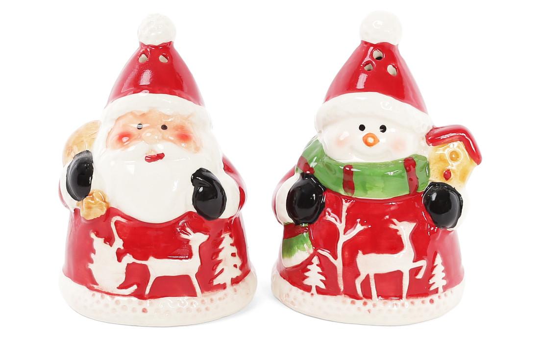 Набор для специй Санта и Снеговик: солонка и перечница, 9 см BonaDi 827-809