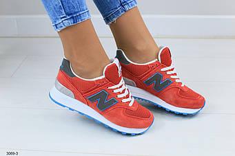 Женские кроссовки, красные, из натуральной замши, с кожаными вставками