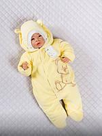 """Комбинезон для новорожденных """"Мишка"""" на махре. Желтый, фото 1"""