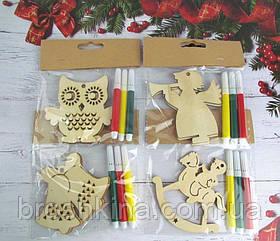 Детский творческий набор новогодние игрушки + фломастеры 12 набор/уп