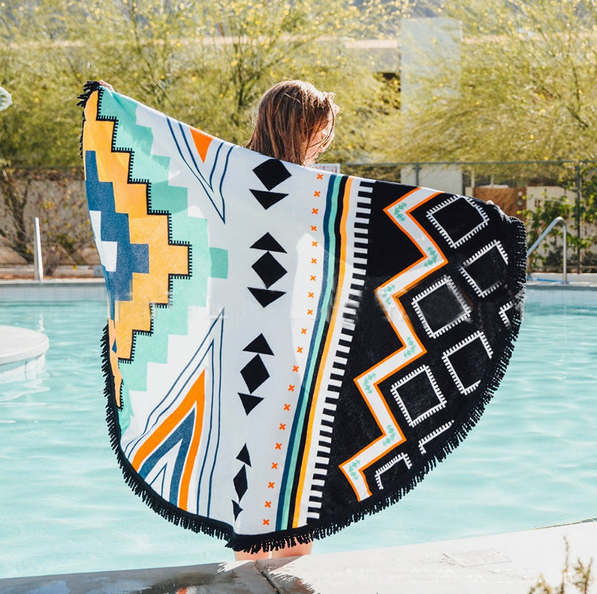 Пляжный коврик Рисунок Ацтеков. Диаметр 150 см