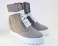 Сникерсы замшевые на шнуровке, фото 1