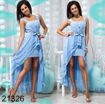 885822e0c4e Купить Нежное вечернее платье короткое спереди длинное сзади голубой ...