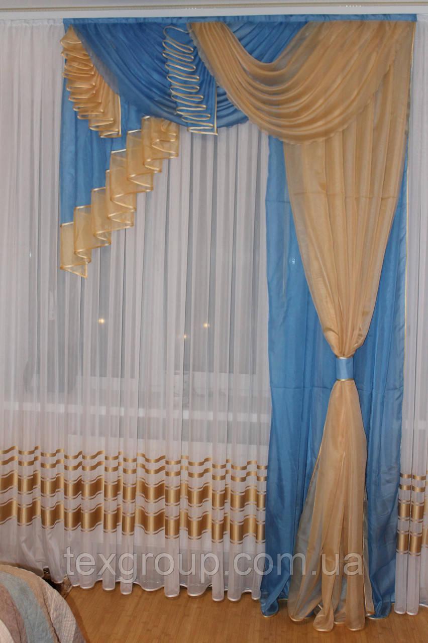 Комплект ламбрекен со шторой в спальню Агния 2м