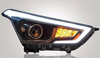 Передние фары Led тюнинг оптика Hyundai Creta IX25 черные (ксенон)