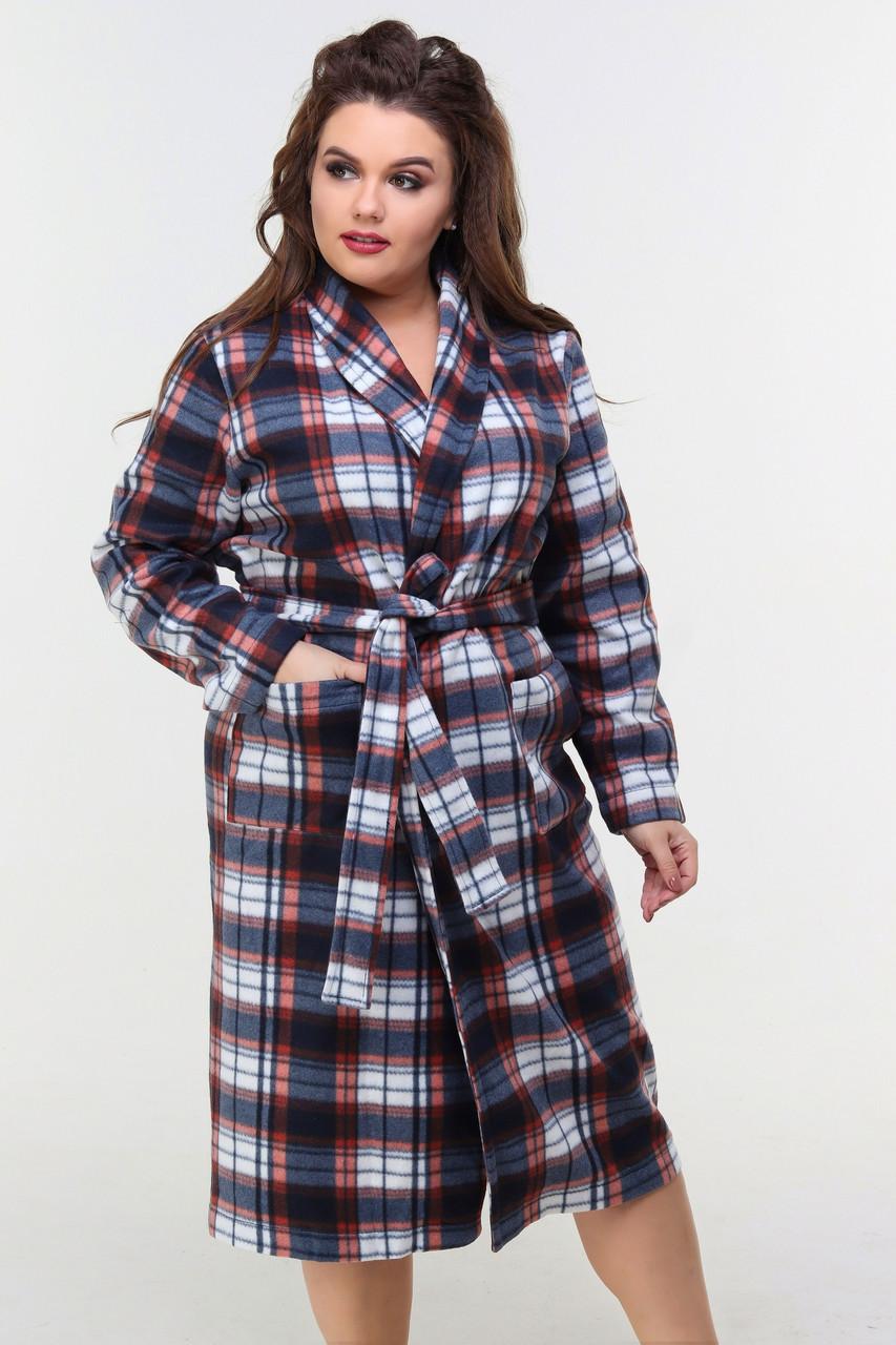 Мягкий удобный домашний халат на запах с поясом и накладными карманами
