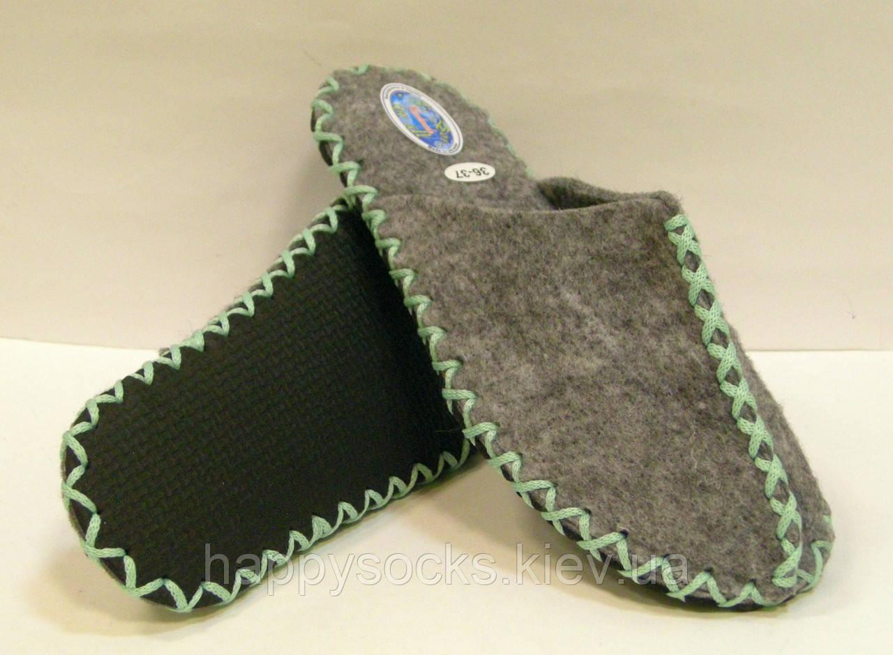 Комнатные фетровые тапочки ручной работы женские с мятным шнурком