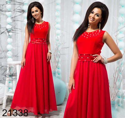 768af9ebcf5 Купить Вечернее женское красное платье с поясом 821338 Украина ...