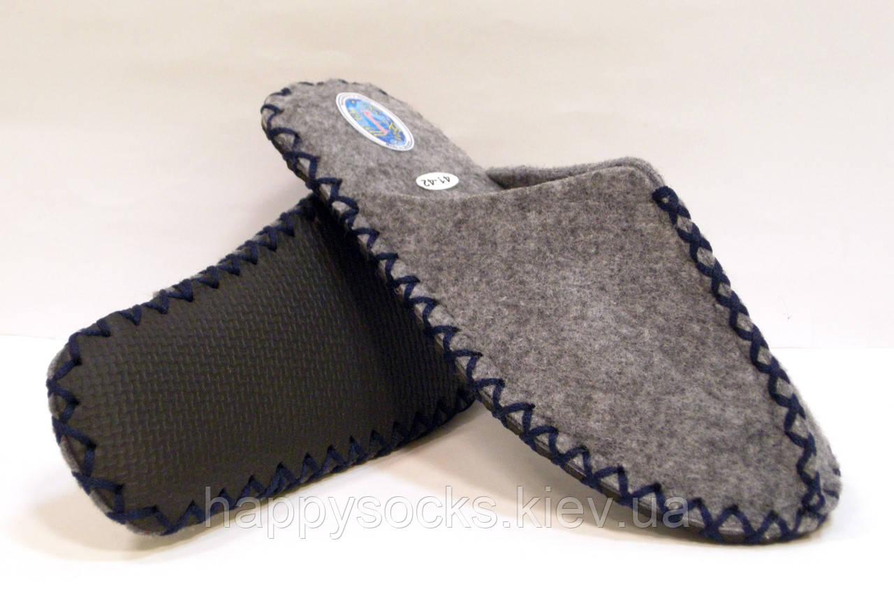 Комнатные войлочные мужские тапочки ручной работы с темно-синим шнурком