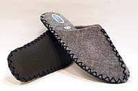 Комнатные войлочные мужские тапочки ручной работы с темно-синим шнурком, фото 1