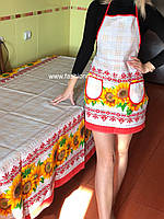 Скатерть льняная с подсолнухами  в украинском стиле
