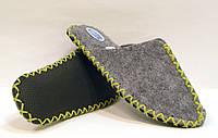 Тапочки ручной работы из войлока мужские с бледно-салатовым шнурком, фото 1